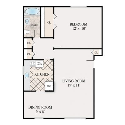 1 Bedroom Deluxe 1 Bathroom. 860 sq. ft.